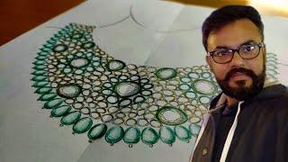 How to Draw Heavy Necklace Design | Polki Meena Jewelry Design | Kundan Meena Jewellery Design