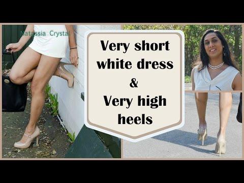 Crossdresser - very short dress and very high heels