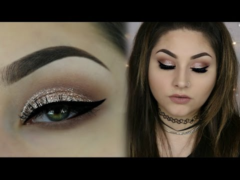 Rose Gold Glitter Smokey Makeup   Using New Stila Magnificent Metals Glitter And Glow Kitten Karma