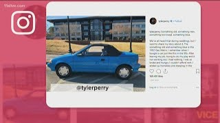Tyler Perry parks blue car outside his studio as reminder of how he overcame homelessness