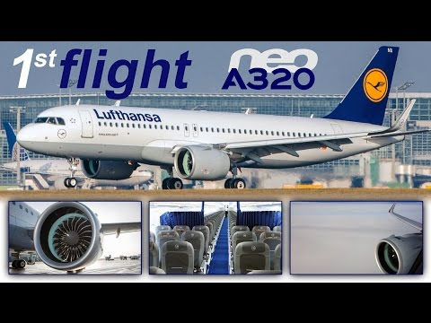Lufthansa A320neo WORLD'S FIRST - massive engines & sounds of silence [AirClips full flight series]