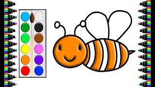 Vẽ và tô màu con ong | Drawing and coloring bee | trang màu cho bé | bé yêu