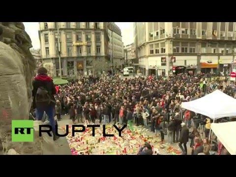 Belgium: 'Hooligans' crash vigil for victims of Brussels attacks