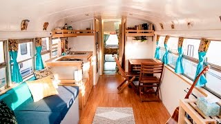 """""""HOW WE ROLL"""" Awesome Converted School Bus Home Tour"""