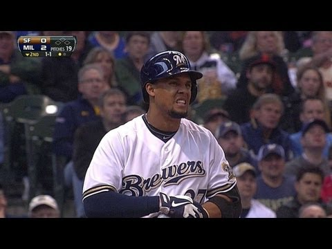 Gomez gets hit by pitch