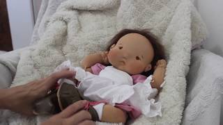 Tita, 16 inch preemie size, natural fibers art baby doll