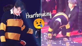 Jungkook Almost Collabsed 😢 tired & like seems in pain 190115