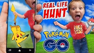 Pokemon GO!  Hunting in Real Life w/ FGTEEV Boys! Shawn Gotta Gun!!!  Part 1 (Smartphone Gameplay)