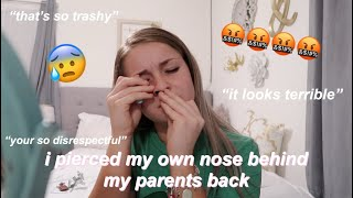 i pierced my own nose behind my parents back 😅😰 + their reaction...