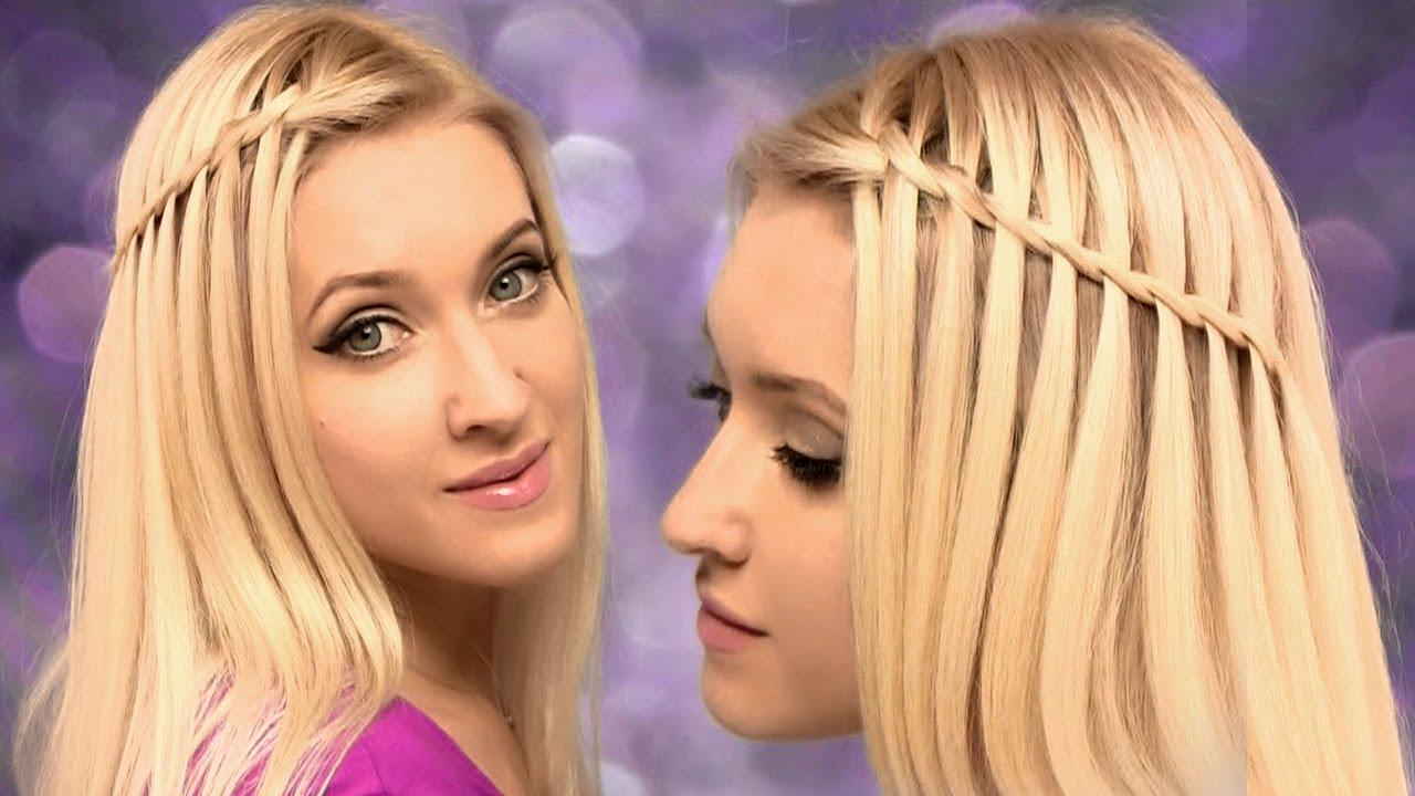 Waterfall Braid Hairstyle For Medium Long Hair Tutorial