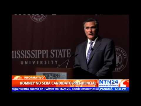 Republicano Mitt Romney descarta su candidatura para llegar a la Casa Blanca