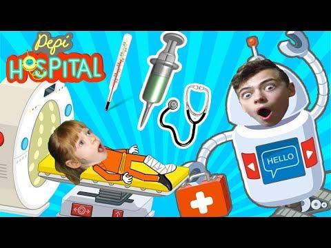 ВИДЕО ДЛЯ ДЕТЕЙ Лечим больных и малышей Семейная игра Pepi HOSPITAL на детском игровом GAMES FACTORY