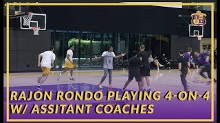 Lakers Practice: Rajon Rondo Back to Doing Contact Drills, Scrimmaging With Assistant Coaches
