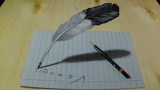3D Drawing Feather - Trick Art Illusion on Lined Paper