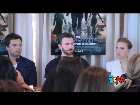 Captain America: The Winter Solder press conference - Chris Evans, Scarlett Johansson