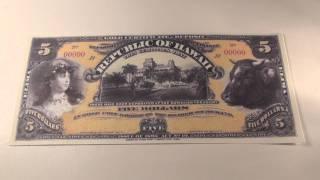 1895 $5 Republic of Hawaii Gold Certificate Note