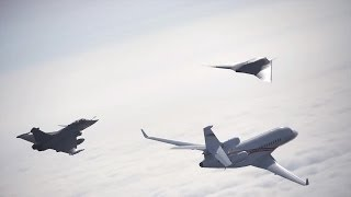 Dassault Aviation - Neuron UCAV, Rafale Fighter & Falcon 7X Business Jet Formation Flight [720p]