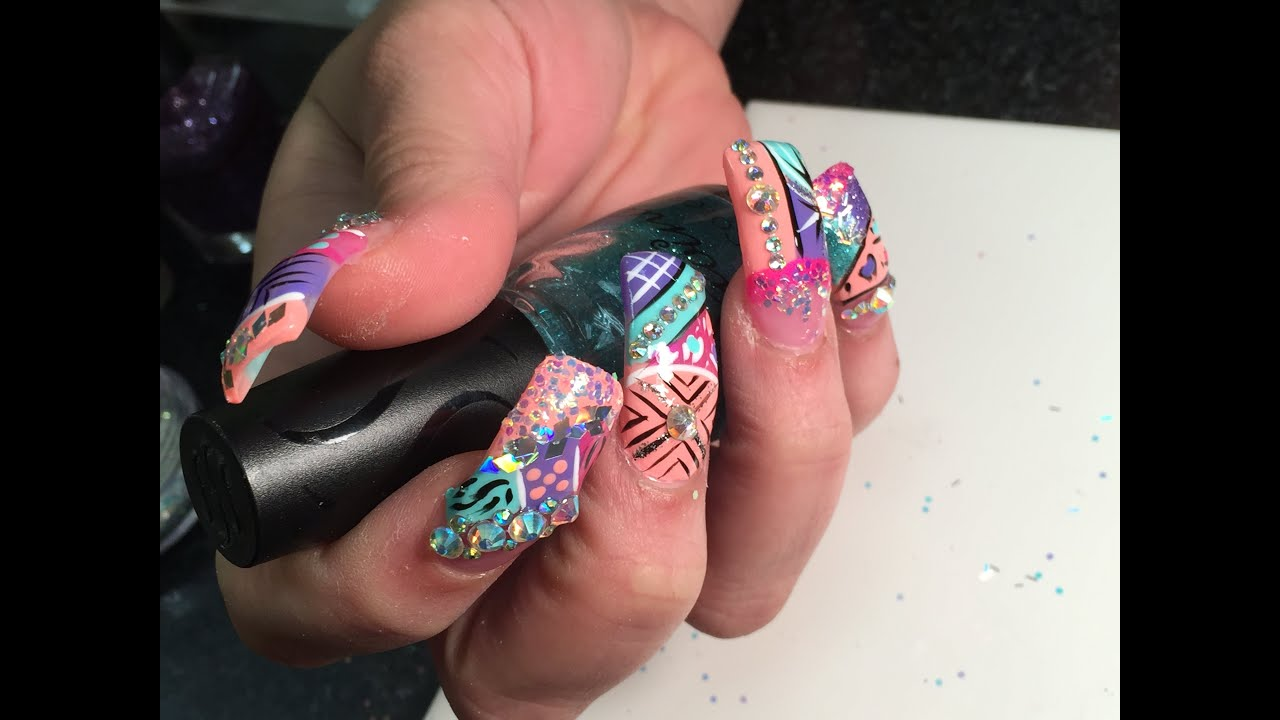 super long acrylic nails with exotic nails design 2015 part 3 end - Nail Design Ideas 2015