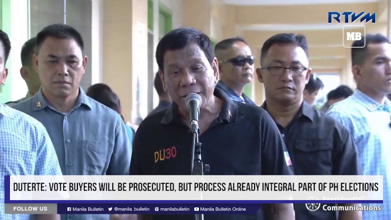 Duterte: Vote buyers will be prosecuted, but process already integral part of PH elections