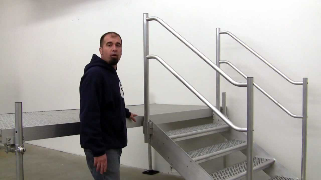Aluminum Dock Stairs With Hardrail And Thru Flow Steps