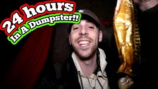 (FISH!!) 24 HOUR OVERNIGHT CHALLENGE IN A DUMPSTER // 24 HOURS DUMPSTER DIVING FORT!