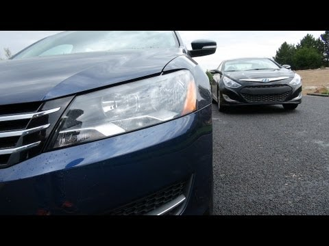 2013 VW Passat vs Hyundai Sonata Hybrid Mashup Review: Which car we'd buy our Mom