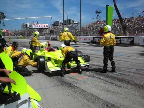 Ed Carpenter Pit Stop and Front Wing Change at Long Beach