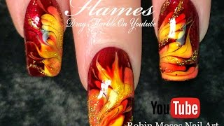 No Water Needed - Fall Flames DIY Drag Marble nail art Tutorial