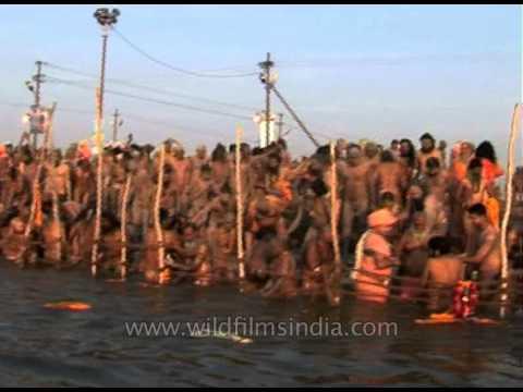 Hindu Naga Sadhu gather to take a holy dip in river Ganges - Ardh Kumbh, 2007