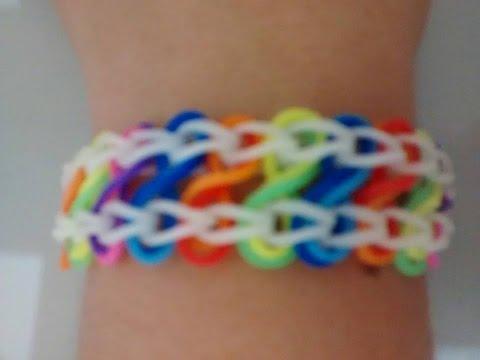 (Com Tear) ♥  Como fazer Pulseira com elástico INFINITO passo a passo   Rainbow Loom  ♥