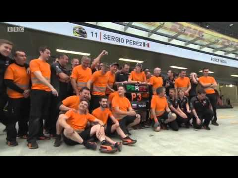 2015 Russia - Post-Race: Force India's Andy Stevenson, Ian Hall and team celebrations