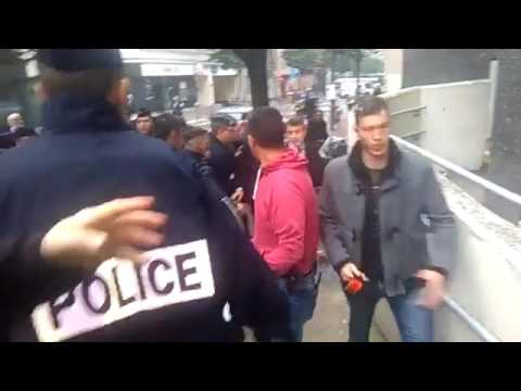 FRANCE: Protesters Pelt Eggs at French Economy Minister