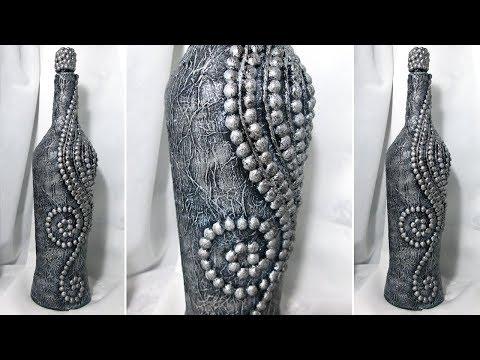 Декор своими руками стеклянной бутылки