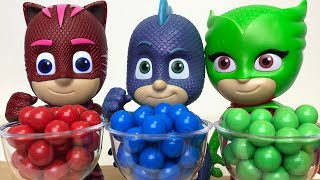 Pj Masks Transform into different Colors with Johny Johny Yes Papa Learn Colors Pj Masks Wrong heads