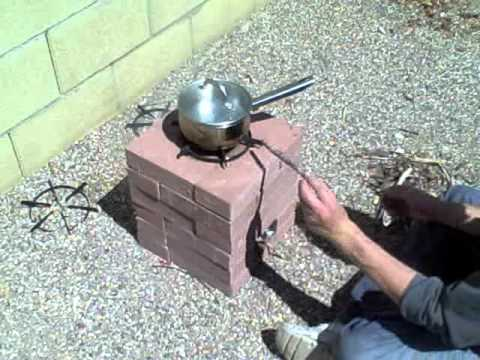 How to build a rocket stove using 16 20 or 24 bricks for Brick jet stove
