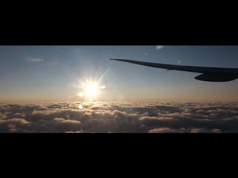 ANA All Nippon Airways NH224 B777-300 Sunset takeoff at Frankfurt am Main