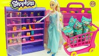 Glow In The Dark Shopkins + Frozen Queen Elsa Shopping For Surprise Blind Bags