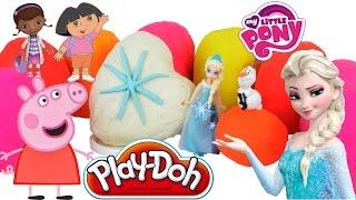 peppa pig frozen egg surprise play doh dora barbie
