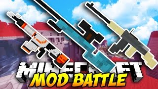 Minecraft EPIC GUN MOD BATTLE! (Minecraft Flan