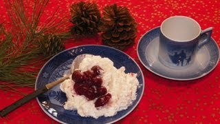 Danish Christmas Rice Pudding with Cherry Sauce Dessert Recipe. Risalamande med kirsebærsauce