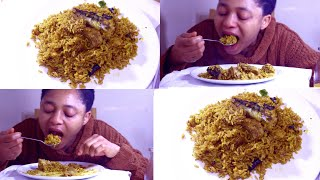 Mukbang   Nigerian Food   Tasty Nigerian Banga Rice - Eating Nigerian Banga Rice