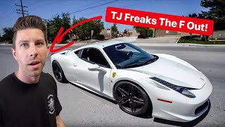 DOING BURNOUTS IN TJ HUNTS REBUILT FERRARI! *HE FREAKED OUT*