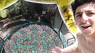 DIVING INTO TRAMPOLINE FILLED WITH 50,000 LEGOS! (I GOT INJURED) | FaZe Rug