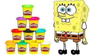 SpongeBob Squarepants Play Doh Time - How to make Spongebob with Playdough!