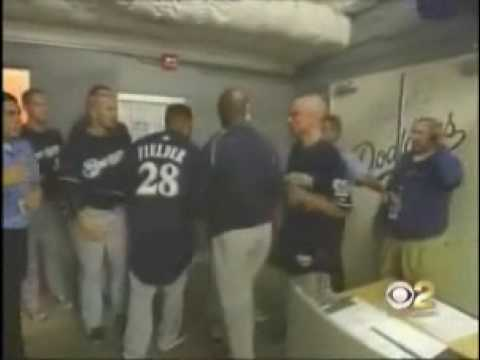 Prince Fielder gets beaned in a blow against the Dodgers. After the game Prince attempts to get into Los Angeles Dodgers locker room to seek revenge on reliever Guillermo Mota. Copyright...