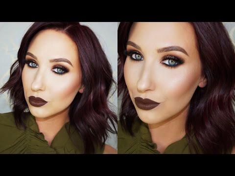 Brown Glitter Smokey Eye & Brown Lips Tutorial   Jaclyn Hill