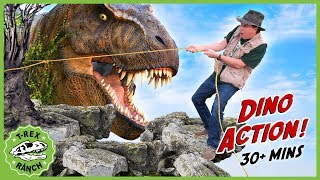 Dinosaur Escape Adventure! Giant T-Rex Chases Park Rangers Who Rescue Baby Dinosaurs with Kids Toys