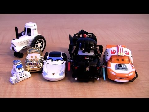 Disney CARS STAR WARS TOYS REVIEW Jedi Lightning McQueen as Luke Skywalker Pixar Sally Princess Leia