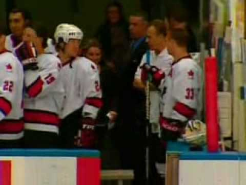 Moscow, russia - may 22: canadian players look on during the national anthem after a