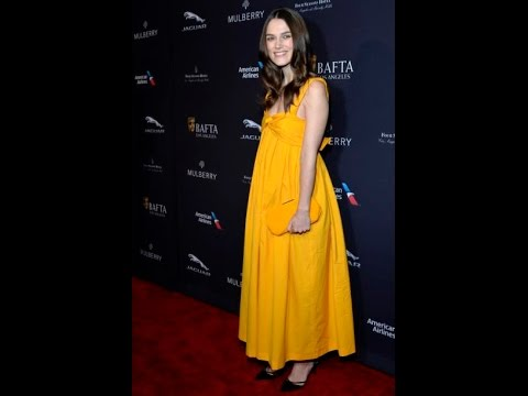 pregnant Keira Knightley radiant in marigold maxi dress at the 2015 BAFTA Los Angeles Tea Party
